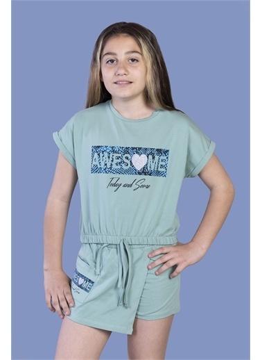 Toontoy Kids Toontoy Kız Çocuk Baskılı Şortlu Takım Yeşil